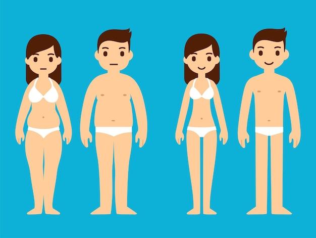 귀여운 만화 남자와 여자 속옷, 과체중 및 슬림. 체중 감량 그림. 프리미엄 벡터