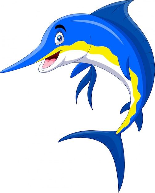 Милый мультфильм марлин рыбка улыбка Premium векторы