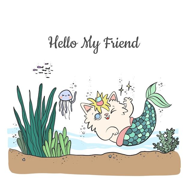 Симпатичный мультяшный кот-русалка с рогом единорога плавает в море с морскими животными. Premium векторы