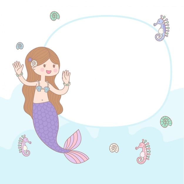 Cute cartoon mermaid Premium Vector