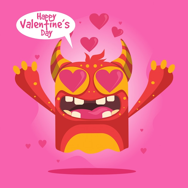 Cute cartoon monster for happy valentine's day card Premium Vector