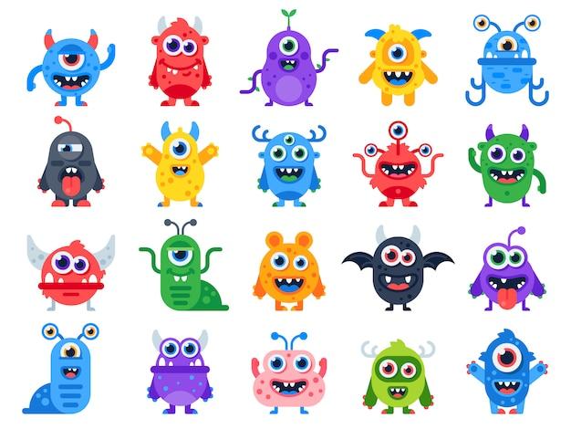 Cute cartoon monsters Premium Vector