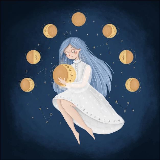 Симпатичные карикатуры луна фазы иллюстрации. женщина в небе держит луну. иллюстрация женского менструального цикла. сказочная иллюстрация. Premium векторы