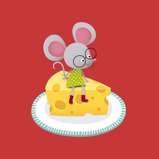 Милый мультфильм мышь сидит на куске сыра. Premium векторы