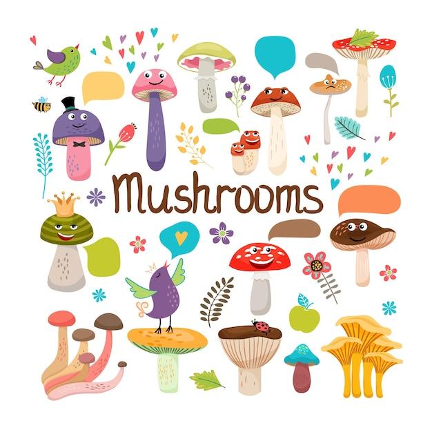 Милый мультфильм грибы с лицами и речи пузыри с птицами и насекомыми цветной векторный дизайн на белом Бесплатные векторы
