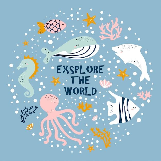 Cute cartoon octopus, whale, seahorse, fish. Premium Vector