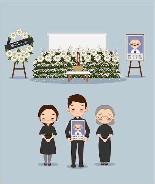 葬式でアジアの家族の一員のかわいい漫画 Premiumベクター