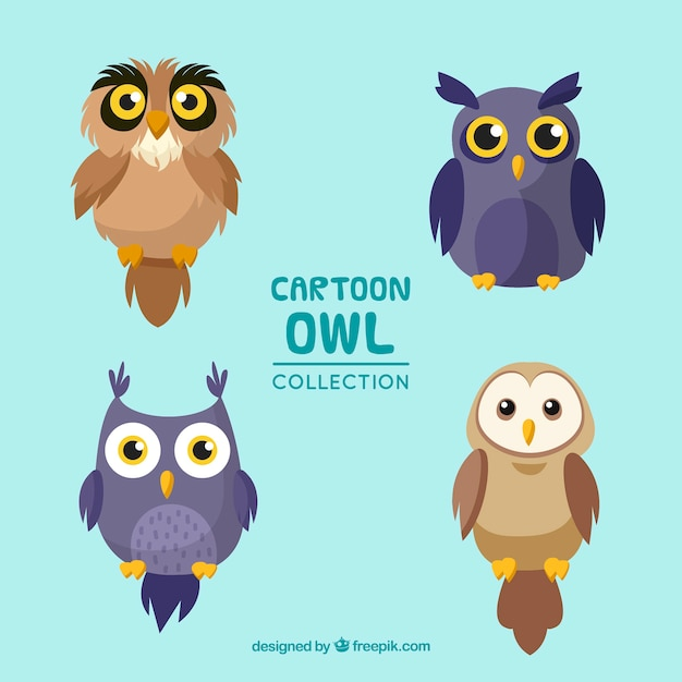 Cute cartoon owl set