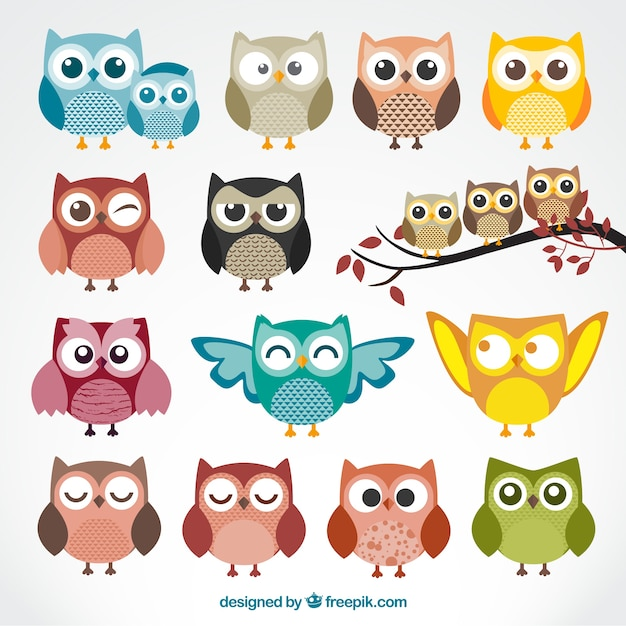 Cute cartoon owls Free Vector