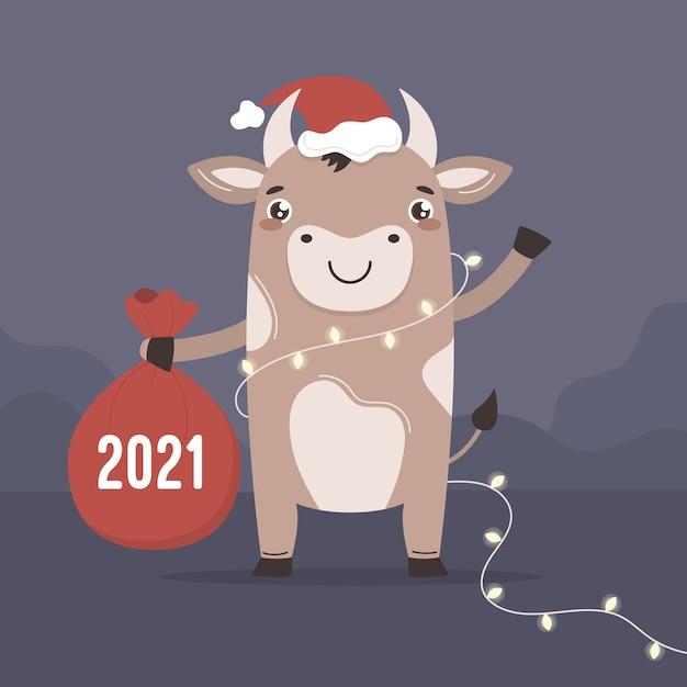 Милый мультяшный бык в новом году. китайский символ быка желает вам счастливого рождества Premium векторы