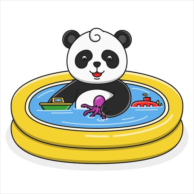 Симпатичные карикатуры панда купания иллюстрации Premium векторы