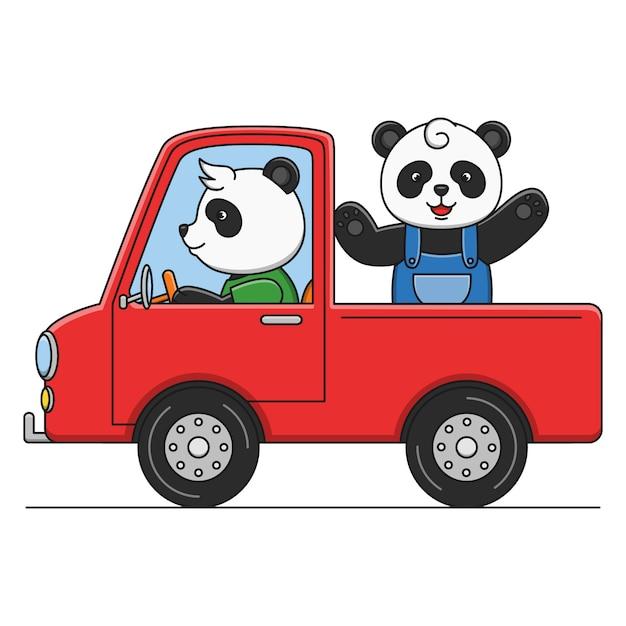 トラックを運転してかわいい漫画パンダ Premiumベクター