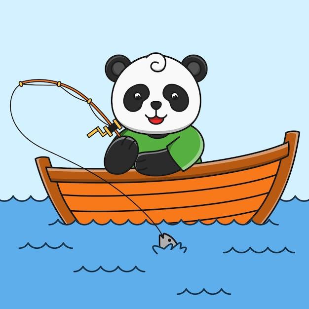 Cute cartoon panda fishing fish  illustration Premium Vector