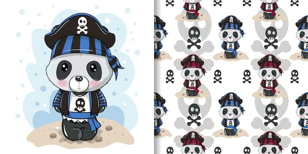 Cute cartoon panda in a pirate hat with seamless pattern set Premium Vector