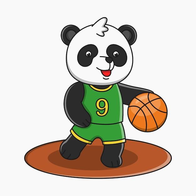 Premium Vector Cute Cartoon Panda Playing Basketball Illustration Design