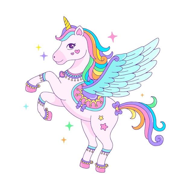 Cute cartoon pegasus unicorn with rainbow mane Premium Vector