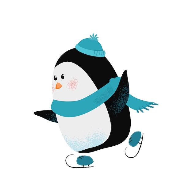 Cute cartoon penguin in scarf and hat enjoying skating Free Vector