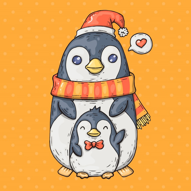 Cute cartoon penguins. cartoon illustration in comic trendy style. Premium Vector