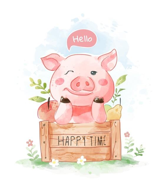 나무 상자 그림에 귀여운 만화 돼지 프리미엄 벡터
