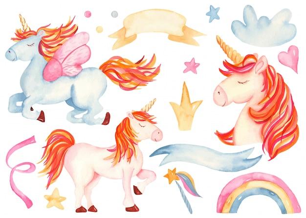 Cute cartoon pink and blue unicorn Premium Vector