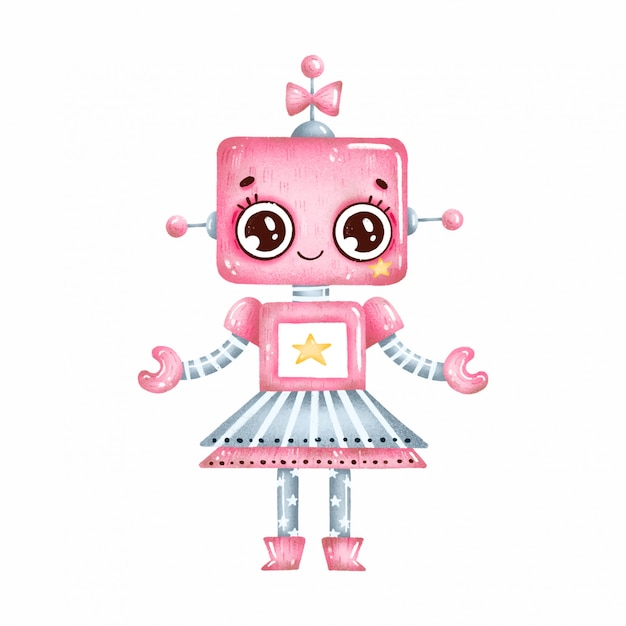 Cute Cartoon Pink Robot Girl With Big Eyes And Stars On A White