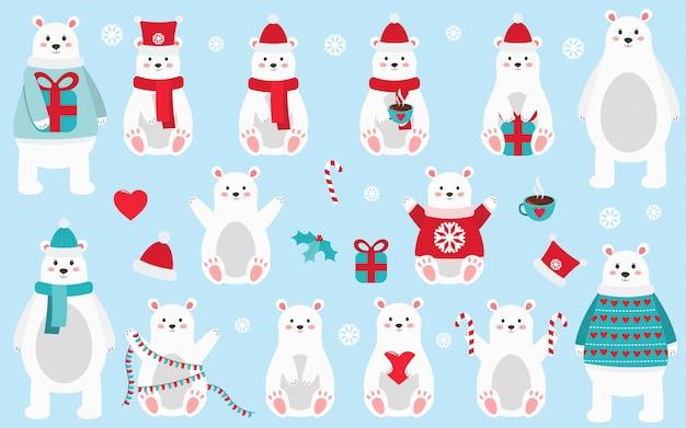 Mother Christmas Cartoon.Cute Cartoon Polar Bear Christmas And New Year Set Baby