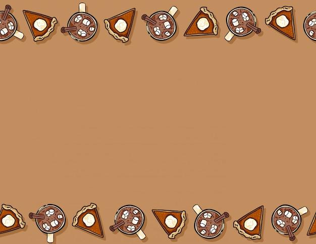 かわいい漫画のカボチャのパイスライスとカカオホットチョコレートのシームレスパターン。秋の装飾背景テクスチャタイル Premiumベクター