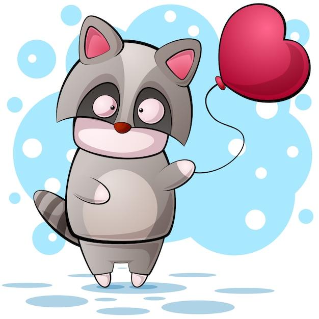 かわいい漫画のラクコンのキャラクター。気球の図 Premiumベクター