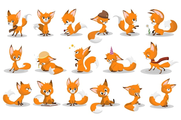 Cute cartoon red fox set. funny animal character smiling, crying, walking, playing game, sleeping Free Vector