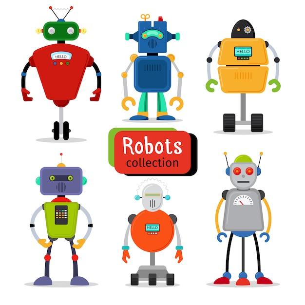 Cute cartoon robots set on white background Premium Vector