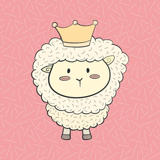 Cute Cartoon Royal Sheep Wall Art Design Vector   Premium Download