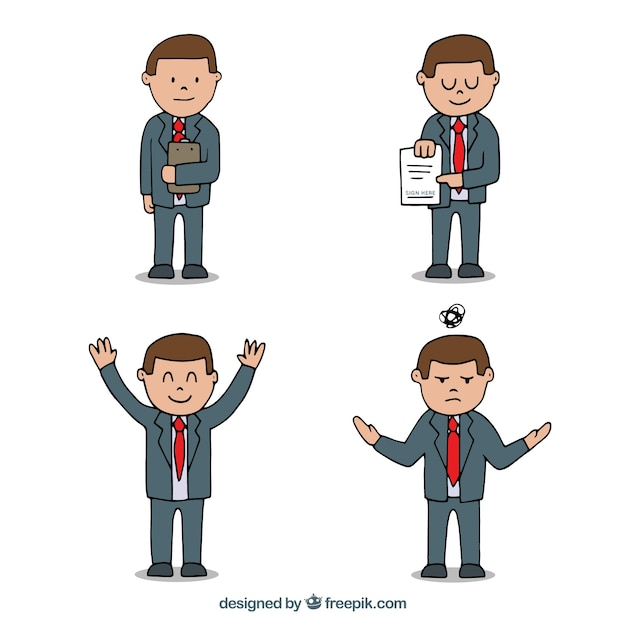 Cute cartoon salesman in different\ position