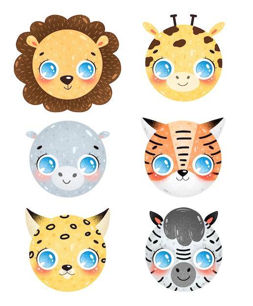 Милый мультфильм животных саванны лица иконки набор. голова льва, жирафа, бегемота, тигра, леопарда, зебры. смайлики африканских животных Premium векторы