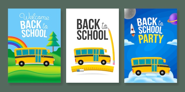 Cute cartoon school bus poster template set. back to school text sign. color background. Premium Vector