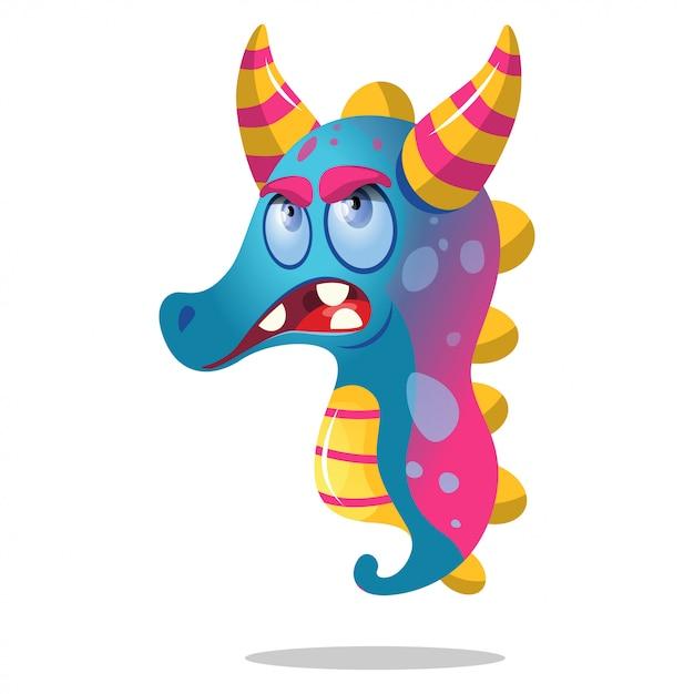 Cute cartoon seahorses monster for party decoration Premium Vector