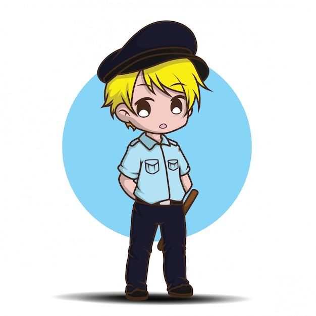 Cute cartoon security guard Premium Vector