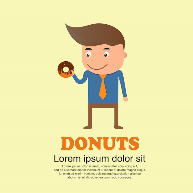 Cute cartoon set, man and big donuts Premium Vector