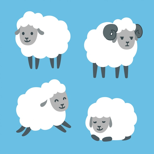 Cute cartoon sheep set Premium Vector
