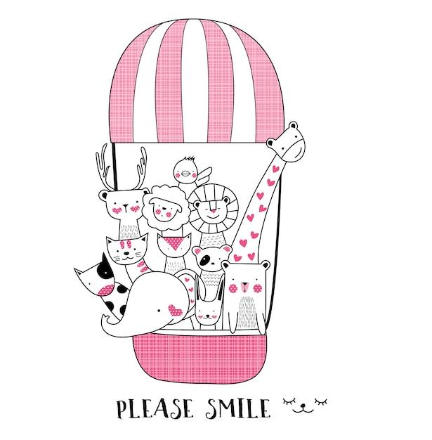 Cute cartoon sketch animal Premium Vector
