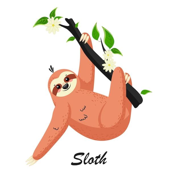 Милый мультяшный ленивец в тропическом лесу на ветке дерева. можно использовать для открыток, флаеров, плакатов, футболок. Premium векторы