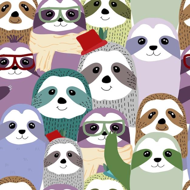 Cute cartoon smiling lazy sloth animal characters Vector ...