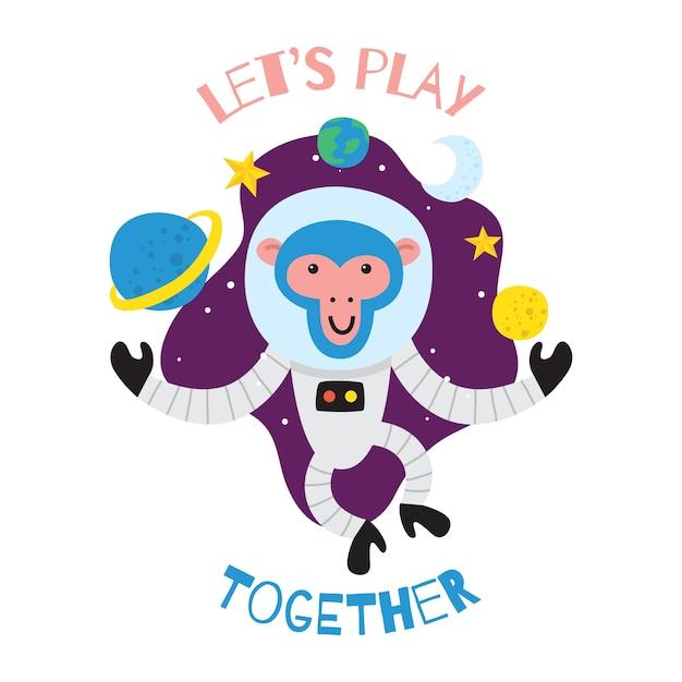 Monkey T Shirt Design   Cute Cartoon Space Monkey For Children T Shirt Design Vector