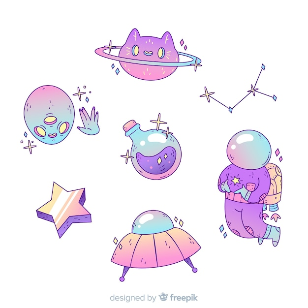 Cute cartoon space sticker collection Free Vector