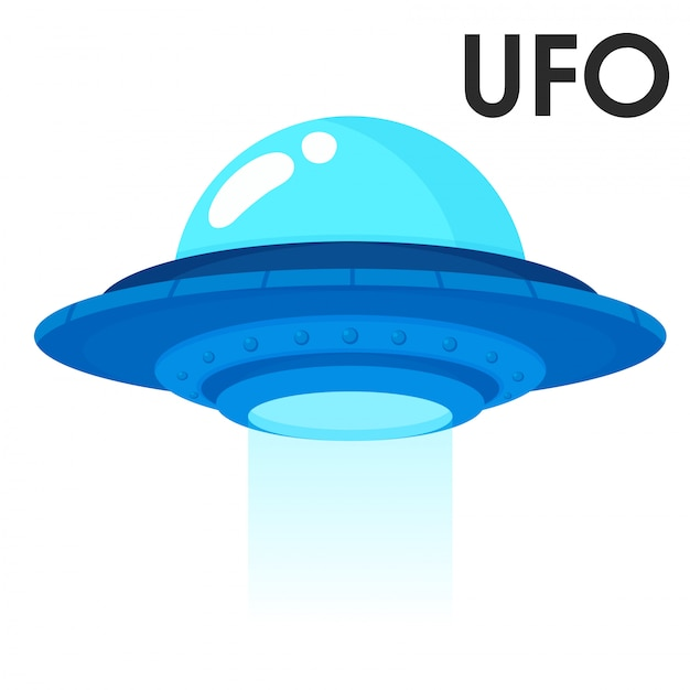 Cute cartoon spacecraft from outer space or alien ufo Premium Vector