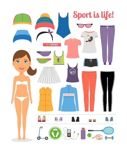 스포츠를 강조하는 여러 피트니스 의류 및 장비와 귀여운 만화 스포티 한 소녀는 생활 개념입니다. 화이트에 격리. 무료 벡터