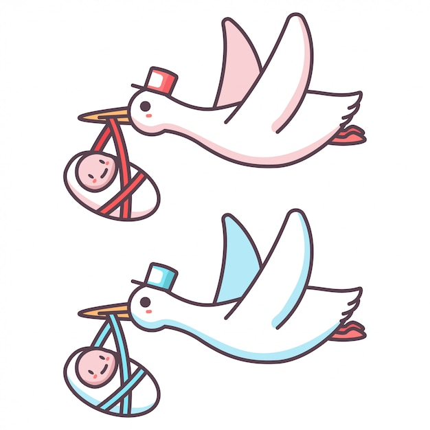 Premium Vector Cute Cartoon Stork And Baby Boy And Girl Illustration Of A Flying Bird Carrying A Newborn Kid Isolated On A White Background