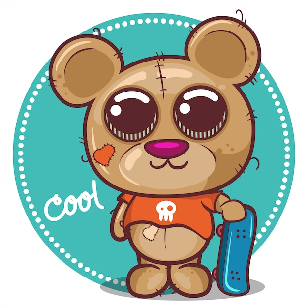 Cute cartoon teddy bear boy with skateboard - vector Premium Vector