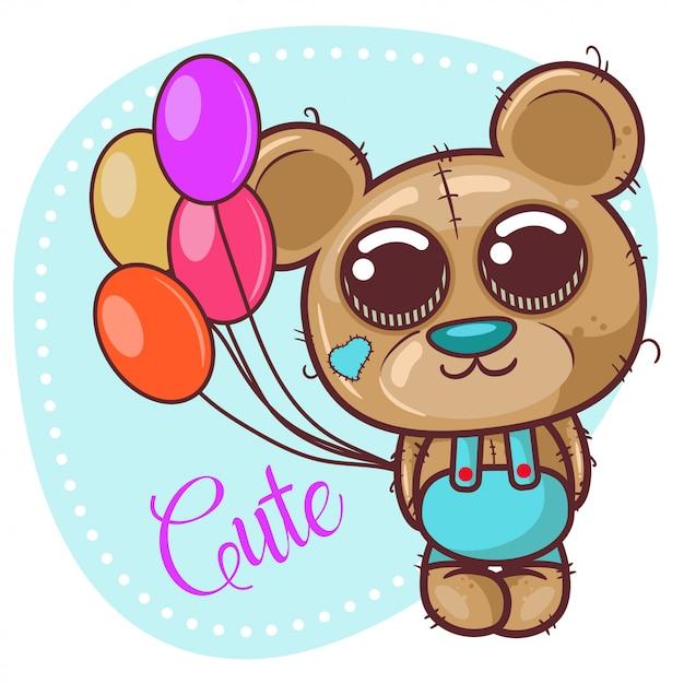 Поздравительная открытка cute cartoon teddy bear с воздушными шарами - вектор Premium векторы