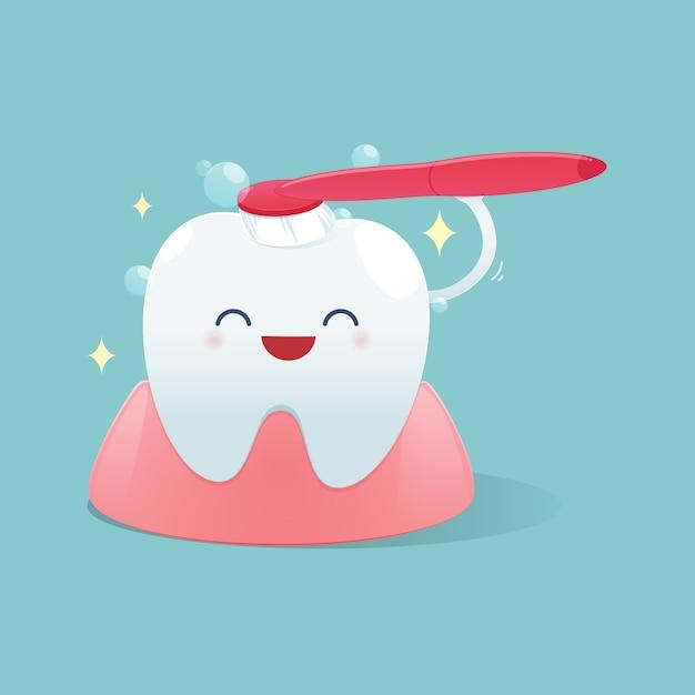 Cute cartoon teeth happy smile and brush the teeth cleaning Premium Vector