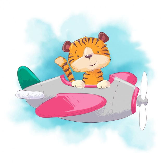 Cute cartoon tiger on a plane on a watercolor style. vector illustration Premium Vector